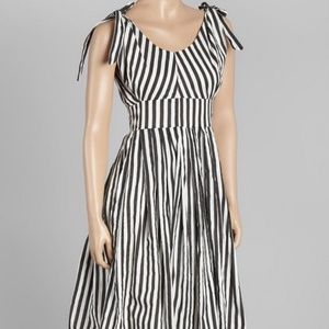 Modcloth Aryeh Black White Stripe Retro Dress NWT